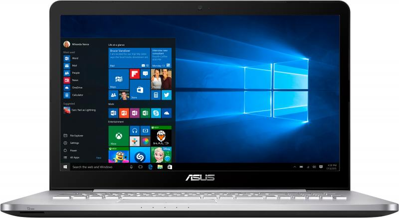 Ноутбук ASUS VivoBook Pro N752VX-GC218T i5-6300HQ (2.3) / 4Gb / 1Tb HDD / 17.3 / GeForce GTX 950M 4Gb / Win 10 / Grey ноутбук asus n752vx