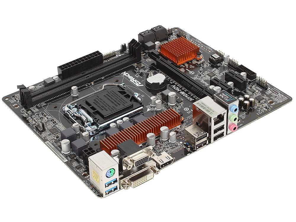 Материнская плата ASRock H110M-HDV (S1151, iH110, 2*DDR4, PCI-E16x, D-SUB, DVI, HDMI, SATAIII, GB Lan, USB3.0, mATX, Retail)