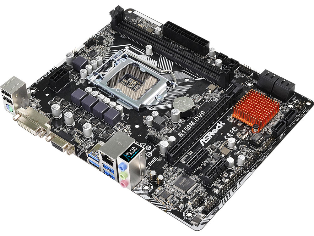 Материнская плата ASRock B150M-DVS R2.0 (S1151, iB150, 2*DDR4, PCI-E16x, D-SUB, DVI SATA III, GB Lan, USB3.0, mATX, Retail)