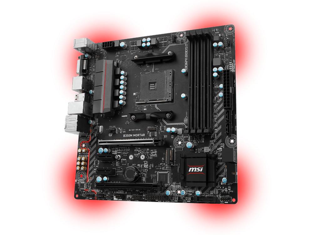 Мат. плата MSI B350M MORTAR (AM4, AMD B350, 4*DDR4, 2*PCI-E16x, HDMI, D-SUB, DP, SATAIII+RAID, M.2, GB Lan, USB 3.1Gen1, mATX, Retail)