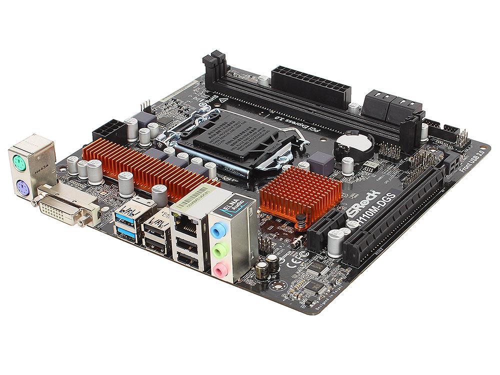 Материнская плата ASRock H110M-DGS R3.0 (S1151, iH110, 2*DDR4, PCI-E16x, DVI, SATAIII, GB Lan, USB3.0, mATX, Retail) материнская плата asrock b150m pro4s s1151 b150 matx