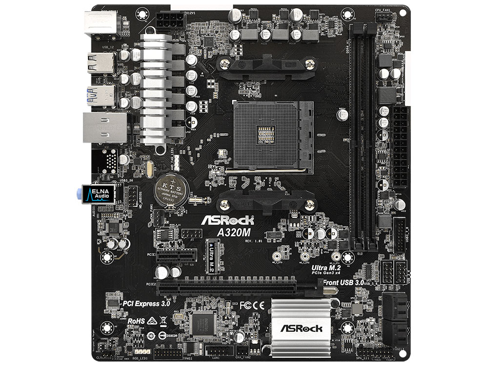 Материнская плата ASRock A320M (SAM4, AMD A320, 2*DDR4, PCI-E16x, SATAIII+RAID, M.2, GB Lan, USB3.0, mATX, Retail) adapter for 44v5591 44v5593 ultra 320 scsi ddr pci x well tested working