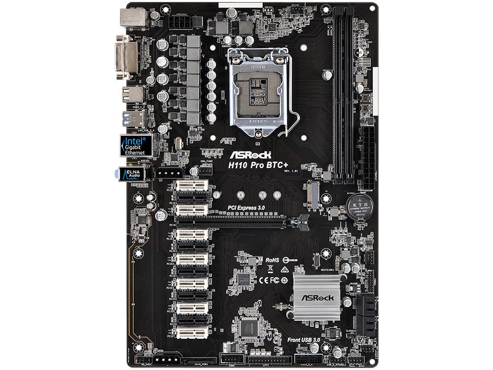 Мат. плата ASRock H110 Pro BTC+ <S1151, iH110, 2*DDR4, PCI-E16x, 12*PCI-E1x, DVI, SATAIII, M.2, GB Lan, USB3.0, ATX, Retail>