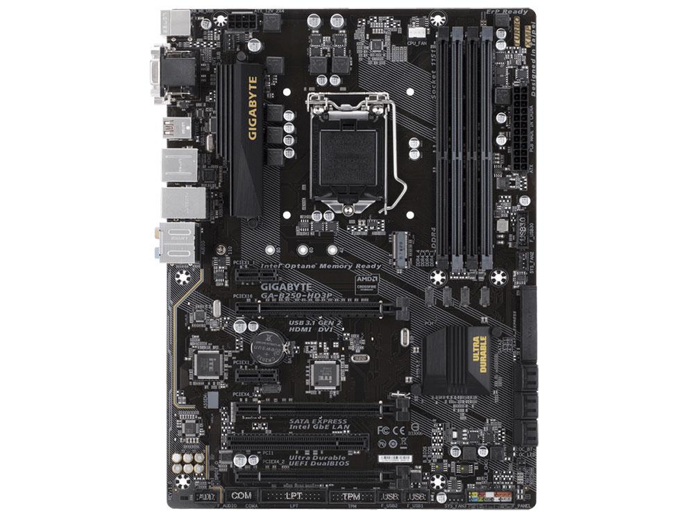 Материнская плата GIGABYTE GA-B250-HD3P (S1151, iB250, 4*DDR4, 3*PCI-E16x, 2*PCI-Ex1, D-SUB, DVI, HDMI, SATA III, M.2, USB 3.1 Gen2, GB Lan, ATX, Retail) доска для объявлений dz 1 2 j4b jndx 4 s b