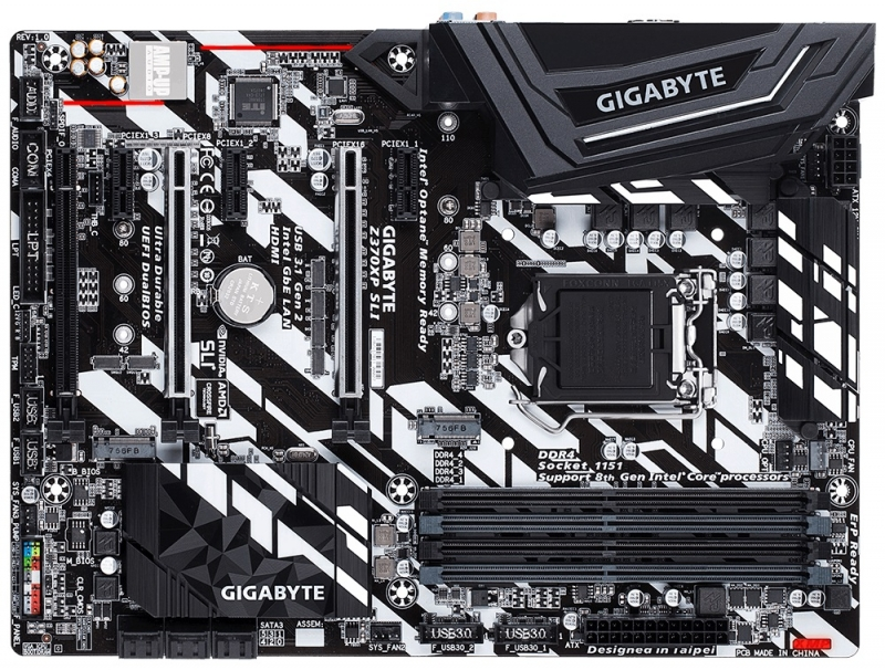 Мат. плата GIGABYTE Z370XP SLI (S1151, Z370, 4*DDR4, 3xPCI-E x16, 3xPCI-E x1, HDMI, SATA III+RAID, M.2, U.2, USB 3.1, ATX, Retail) контроллер pci e sata ide 2 1 port sata raid jmb363 bulk