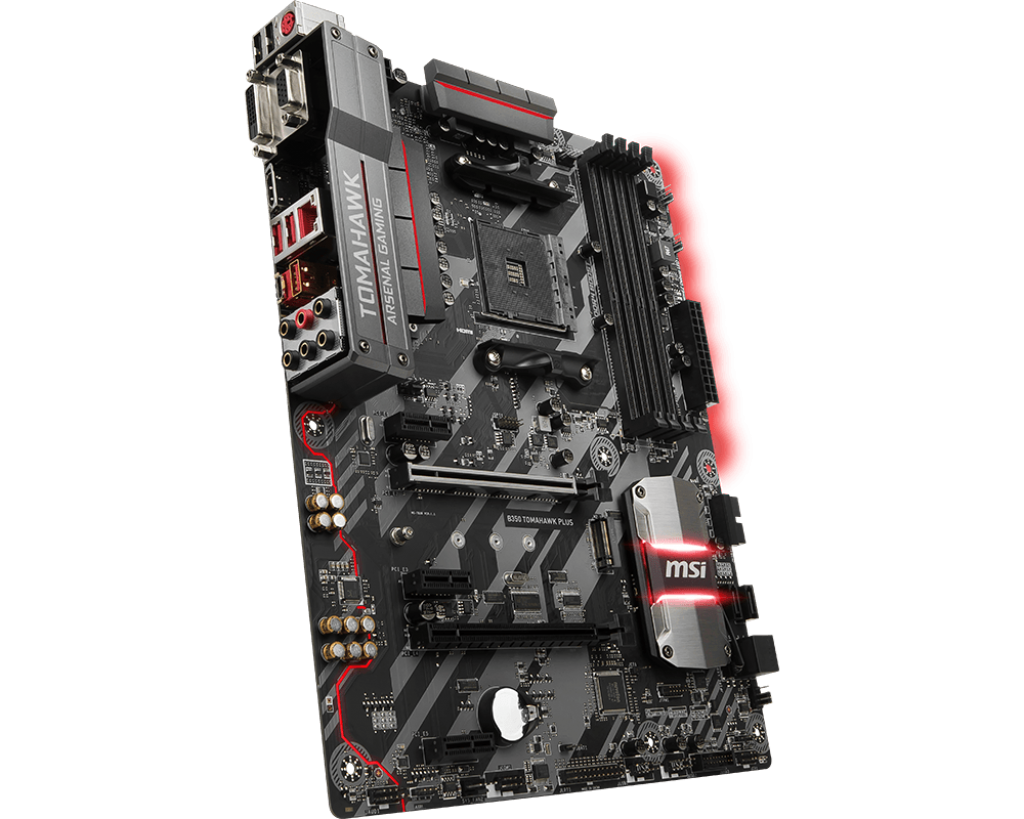 Материнская плата MSI B350 TOMAHAWK PLUS (AM4, AMD B350, 4*DDR4, 2*PCI-E16x, HDMI, DVI, D-SUB, SATAIII+RAID, M.2, GB Lan, USB 3.1Gen1, ATX) переходник aopen hdmi dvi d позолоченные контакты aca311