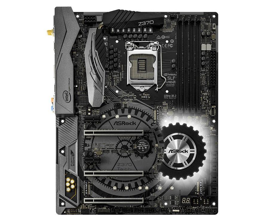 Материнская плата ASRock Z370 TAICHI (S1151, Z370, 4*DDR4, 3*PCI-E x16, 2*PCI-E x1, HDMI, DP, SATA III+RAID, 2*GB Lan, WiFi+Bt, USB 3.1, ATX, Retail) материнская плата asrock z370 killer sli s1151 iz370 4 ddr4 2 pcie 3 0x16 4 pcie 3 0x1 sata3 hdmi dvi ps 2 usb3 1 atx retail