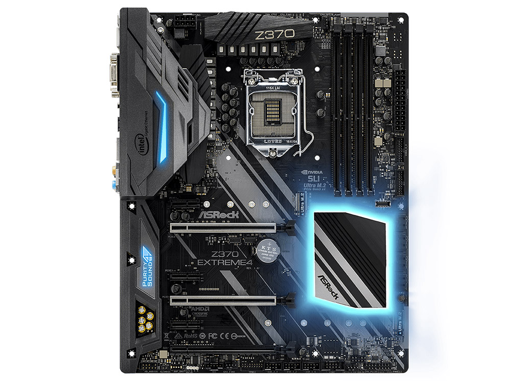 Мат. плата ASRock Z370 EXTREME4 (S1151, Z370, 4*DDR4, 3*PCI-E x16, 3*PCI-E x1, D-Sub, DVI, HDMI, SATA III+RAID, M.2, GB Lan, USB 3.1, ATX, Retail) все цены
