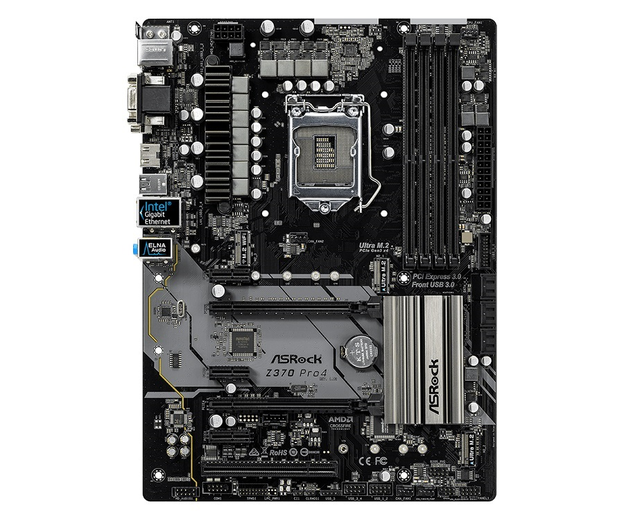 Материнская плата ASRock Z370 PRO4 (S1151, iZ370, 4*DDR4, 2*PCIe 3.0x16, 3*PCIe 3.0x1 , 1*PCI, SATA3, HDMI, DVI, VGA, PS/2, USB3.1, ATX, Retail) материнская плата asrock z370 killer sli s1151 iz370 4 ddr4 2 pcie 3 0x16 4 pcie 3 0x1 sata3 hdmi dvi ps 2 usb3 1 atx retail