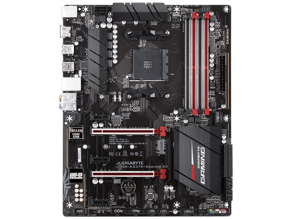 Материнская плата GIGABYTE GA-AX370-Gaming K3 (AM4, AMD X370, 4*DDR4, 2xPCI-E x16, 3xPCI-E x1, HDMI, SATAIII+RAID, M.2, 2*GB Lan, USB 3.1Gen2, ATX, Retail) материнская плата gigabyte ga ax370 gaming k5 socket am4 amd x370 4xddr4 raid 10xusb 3 1 1xm 2 8xsata3 3xpci e 16x glan atx ret