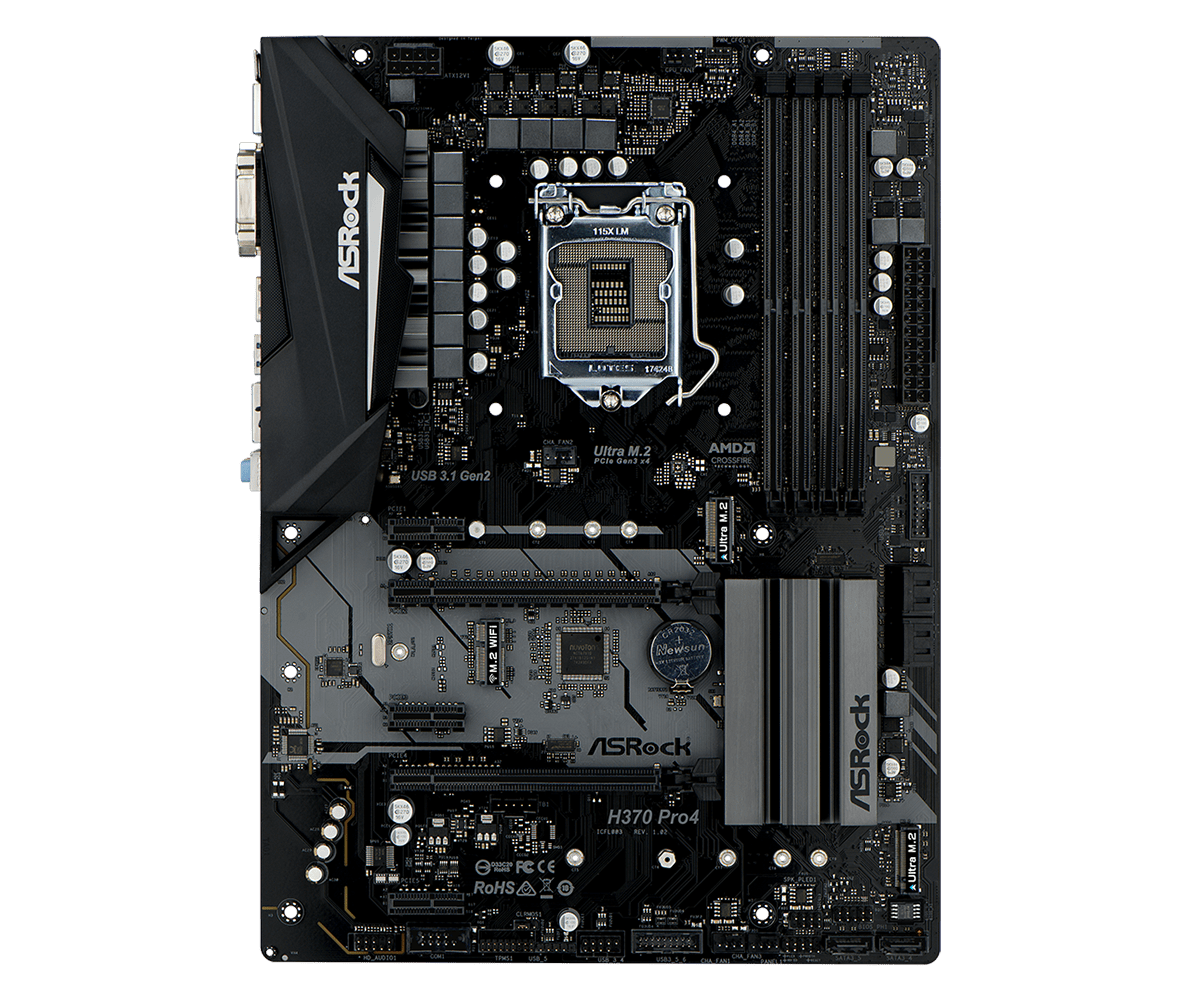 Материнская плата ASRock H370 PRO4 (S1151, iH370, 4*DDR4, 2*PCI-E16x, 3*PCI-E1x, D-Sub, DVI, HDMI, SATA III+RAID, M.2, GB Lan, USB3.0, ATX, Retail) 10 pcs d sub vga db 15 pin male solder type connector socket 2 rows db15f male