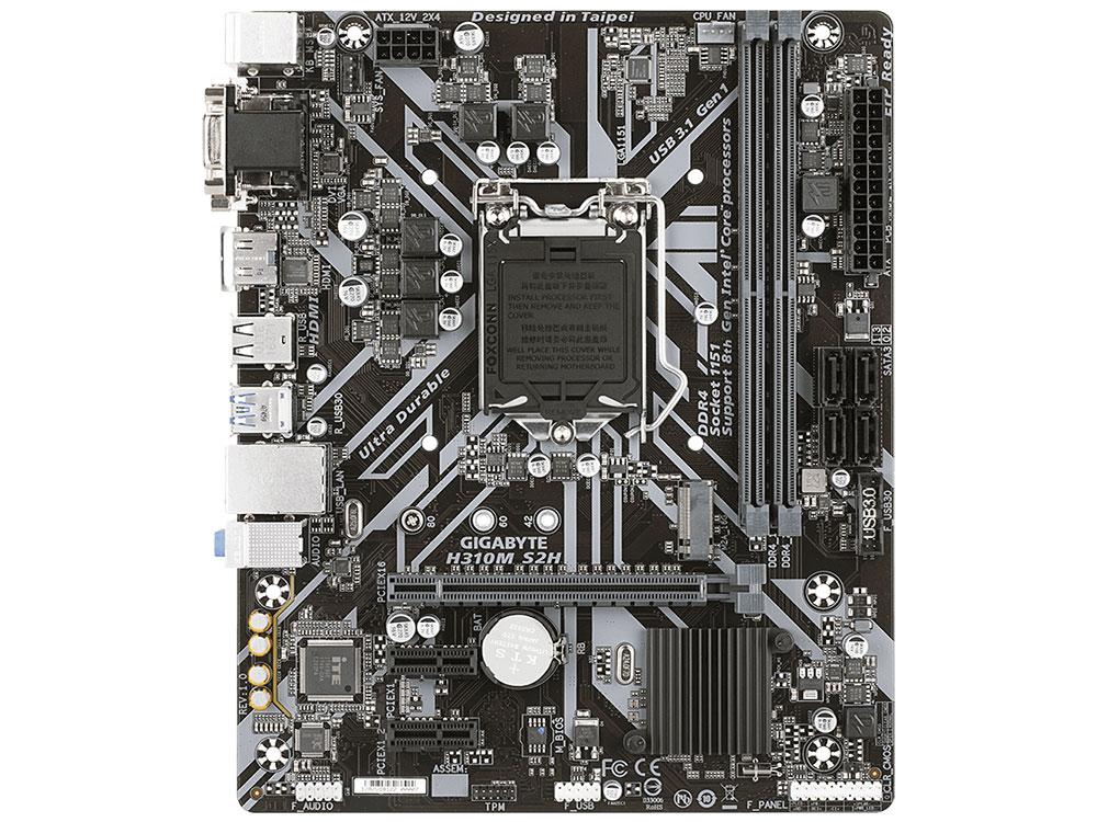 Материнская плата GIGABYTE H310M S2H (S1151, H310, 2xDDR4, PCI-Ex16, 2xPCI-Ex1, D-Sub, DVI, HDMI, SATA III, M.2, GB Lan, USB3.1, mATX, Retail) звуковая карта asus xonar dx pci ex1