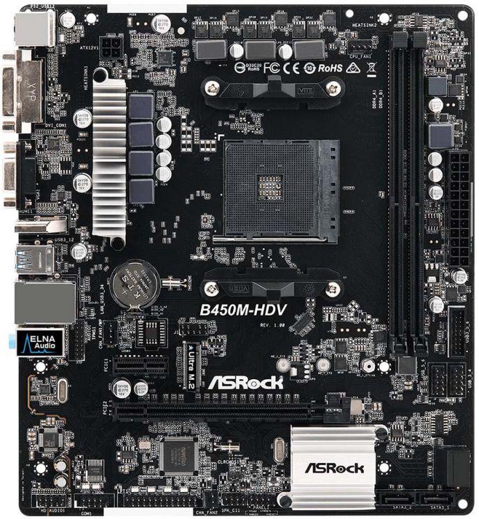 Материнская плата ASRock B450M-HDV AM4, AMD B450, 2xDDR4, 2xPCI-Ex16, PCI-Ex1, D-SUB, HDMI, DVI, SATAIII+RAID, M.2, GB Lan, USB3.1, mATX, Retail asrock j3455m m asrk rtl matx intel quad core j3455 2 ddr3l 1600 pci ex16 glan 2 sata 6g 7 1ch 2 usb 3 0 d sub dvi hdmi
