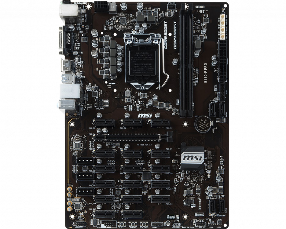 Материнская плата MSI B360-F PRO (S1151, B360, 2xDDR4 DIMM, PCI-Ex16, 17xPCI-Ex1, DVI, HDMI, SATA III, GB Lan, USB3.1, ATX, Retail)