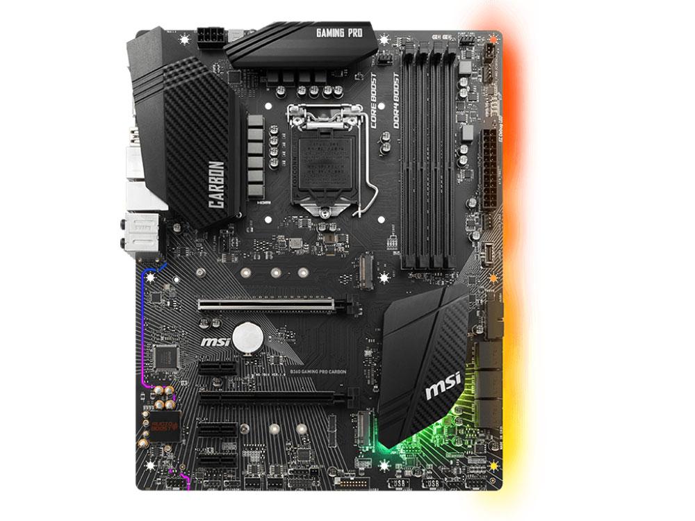 Материнская плата MSI B360 GAMING PRO CARBON (S1151, B360, 4xDDR4 DIMM, 2xPCI-Ex16, 3xPCI-Ex1, DP, HDMI, SATA III+RAID, M.2, GB Lan, USB3.1, ATX, Retail) msi msi x99a gaming pro carbon atx