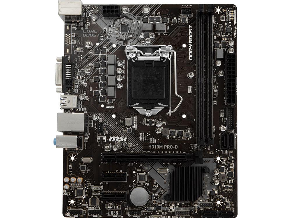 все цены на Материнская плата MSI H310M PRO-D (S1151, H310, 2xDDR4, PCI-Ex16, 2xPCI-Ex1, DVI, SATA III, GB Lan, USB3.1, mATX, Retail)