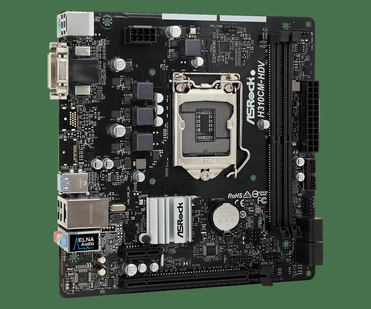 Материнская плата ASRock H310CM-DVS (S1151, iH310, 2*DDR4, PCI-E16x, PCI-E1x, D-SUB, DVI, SATA III, GB Lan, USB3.0, mATX, Retail) материнская плата msi b360m bazooka s1151 b360 4 ddr4 1 pci e16x 2 pci e1x dvi hdmi sata iii m 2 gb lan usb3 1 matx retail
