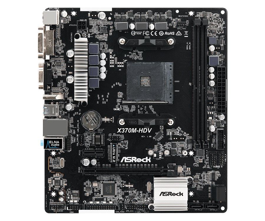 Материнская плата ASRock X370M-HDV AM4, AMD X370, 2xDDR4, PCI-Ex16, PCI-Ex1, HDMI, DVI, D-Sub, SATAIII+RAID, M.2, GB Lan, USB3.1, mATX, Retail asrock j3455m m asrk rtl matx intel quad core j3455 2 ddr3l 1600 pci ex16 glan 2 sata 6g 7 1ch 2 usb 3 0 d sub dvi hdmi