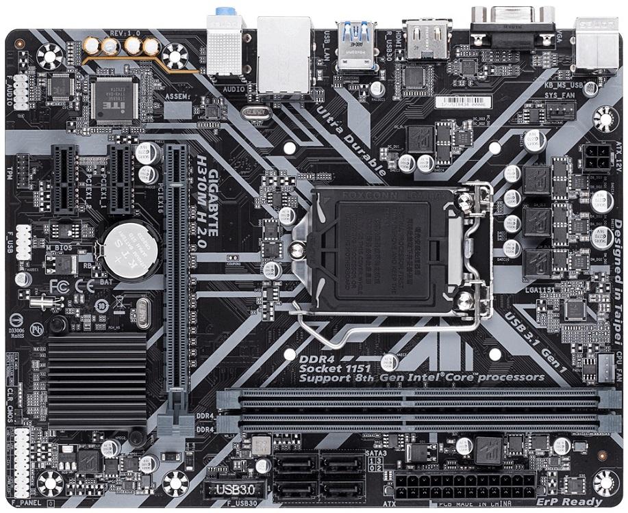 все цены на Материнская плата GIGABYTE H310M H 2.0 S1151, H310C, 2xDDR4, PCI-Ex16, 2xPCI-Ex1, D-Sub, HDMI, SATA III, GB Lan, USB3.1, mATX, Retail