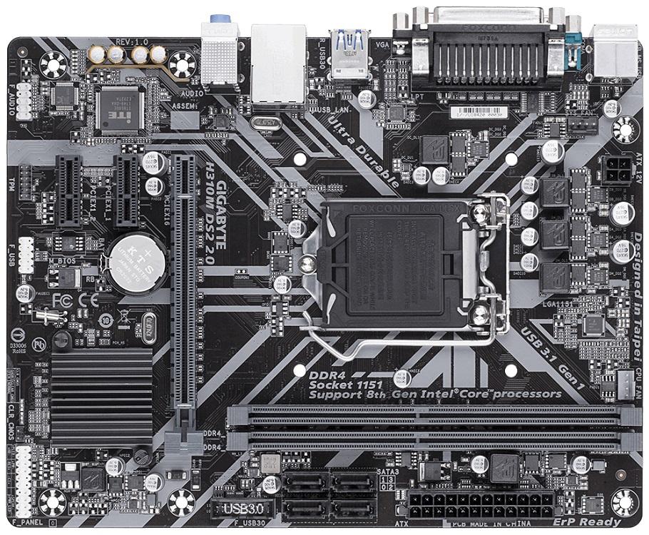 Картинка для Материнская плата Gigabyte H310M DS2 2.0 (Socket 1151, Intel H310, DDR4, mATX)
