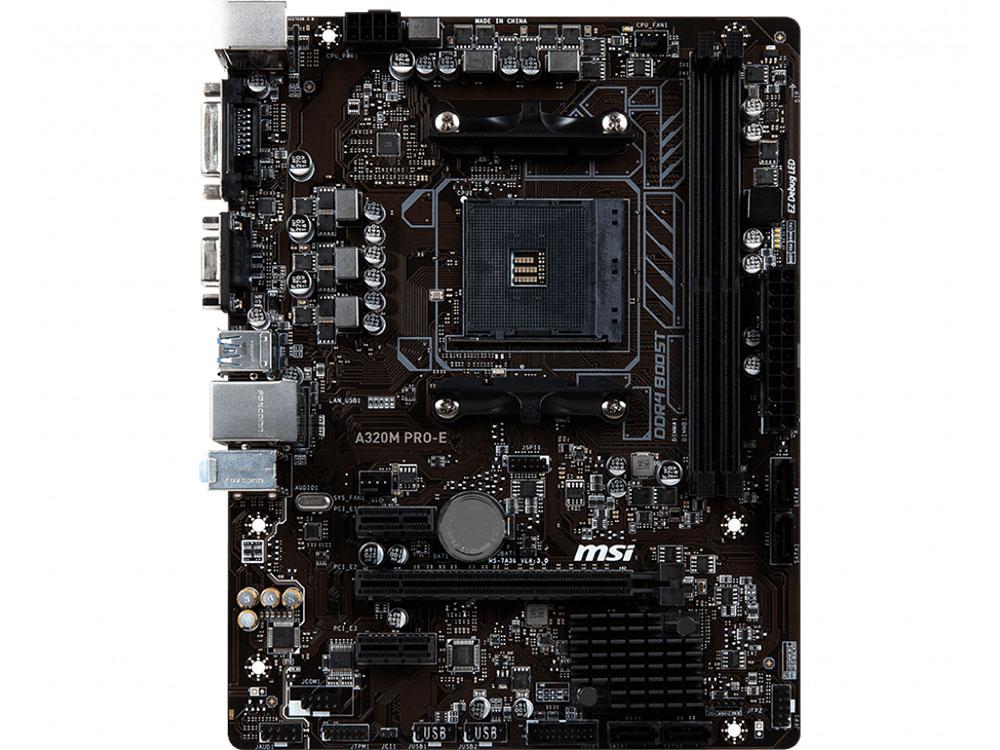 Мат. плата MSI A320M PRO-E AM4, AMD A320, 2xDDR4, PCI-Ex16, 2xPCI-Ex1, DVI, VGA, SATAIII+RAID, GBLan, USB 3.1, mATX, Retail ex1 256