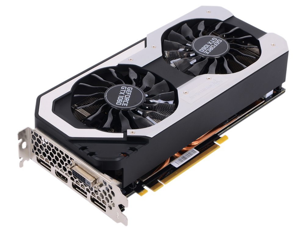 Видеокарта 6144Mb Palit GeForce GTX 1060 JetStream PCI-E 192bit GDDR5 DVI HDMI DP PA-GTX1060 Jetstrea