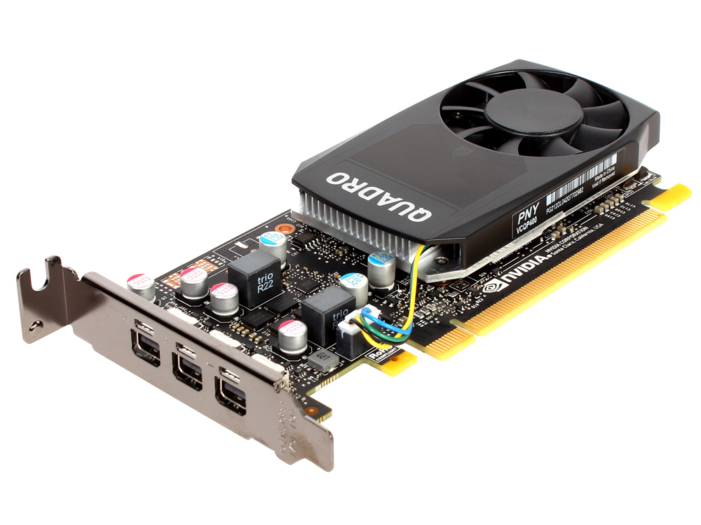 Проф видеокарта PNY nVidia Quadro P400 VCQP400DVIBLK-1 2Gb 1227Mhz NVIDIA Quadro P400/GDDR5/4010MHz/64 bit/PCI-E/miniDP видеокарта pny quadro p400 vcqp400blk 1 pci e 2048mb gddr5 64 bit oem