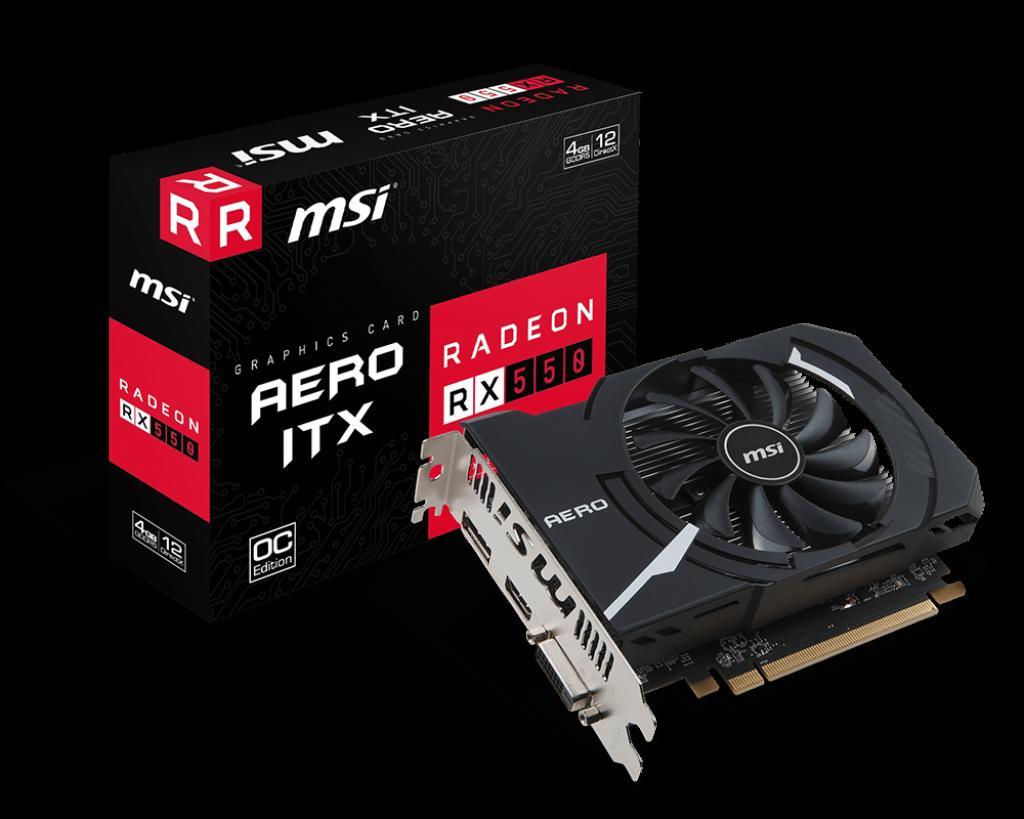 Видеокарта 4Gb (PCI-E) MSI Radeon RX 550 AERO ITX 4G OC (RX550, GDDR5, 128 bit, DVI, HDMI, DP, Retail) asustek asus strix gtx1050ti 4g gaming 1290 1392mhz 4gb 7008mhz 128bit gddr5 игровая видеокарта