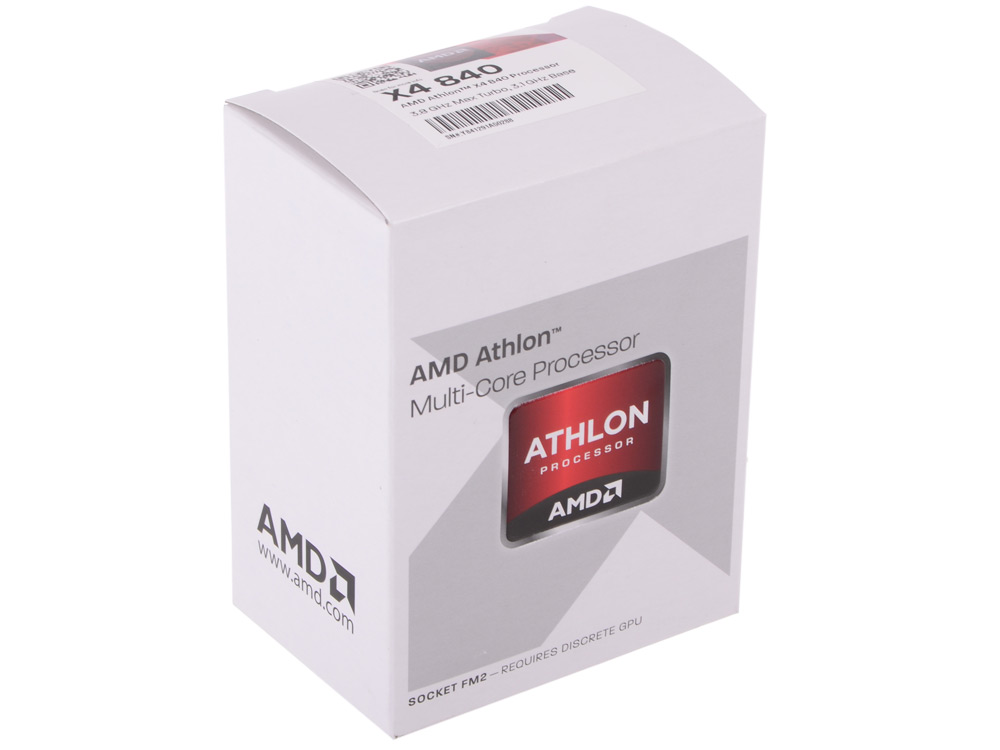 Процессор AMD Athlon X4 840 BOX Socket FM2+ (AD840XYBJABOX) процессор amd athlon x4 840 oem socket fm2 ad840xybi44ja