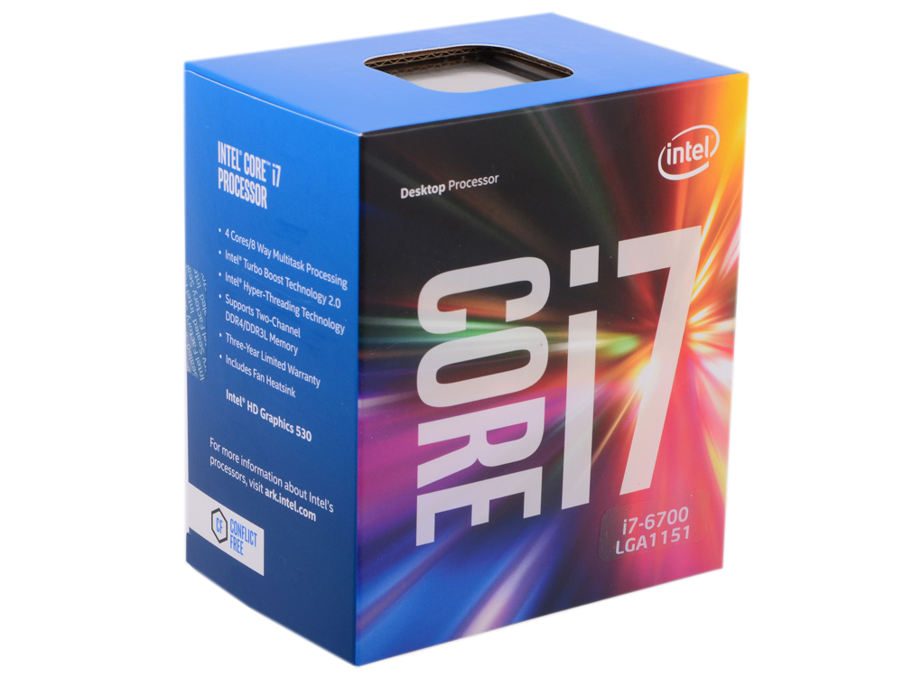 Процессор Intel Core i7-6700 BOX TPD 65W, 4/8, Base 3.4GHz - Turbo 4GHz, 8Mb, LGA1151 (Skylake) 2 4ghz antenna base with 3m extension cable rp sma male connector magnetic base for router network card 2