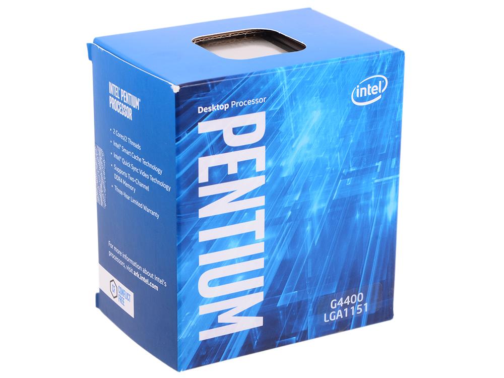 Процессор Intel Pentium G4400 BOX TPD 54W, 2/2, Base 3.3GHz, 3Mb, LGA1151 (Skylake) процессор intel pentium g4400 skylake 3300mhz lga1151 l3 3072kb box bx80662g4400 s r2dc