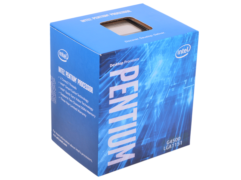 Процессор Intel Pentium G4500 BOX TPD 51W, 2/2, Base 3.5GHz, 3Mb, LGA1151 (Skylake) процессор intel pentium g645 cpu 1155 2 9g 32