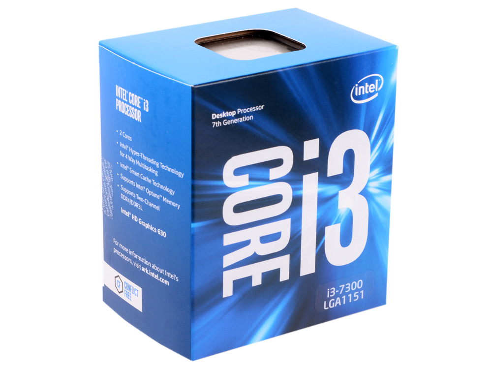 Процессор Intel Core i3-7300 BOX TPD 51W, 2/4, Base 4.0GHz, 4Mb, LGA1151 (Kaby Lake)