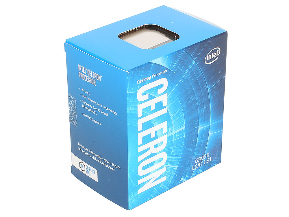Процессор Intel Celeron G3930 BOX (TPD 51W, 2/2, Kaby Lake, 2.90 GHz, 2Mb, LGA1151) процессор intel celeron g530 g540 2 4g 1155 cpu h61