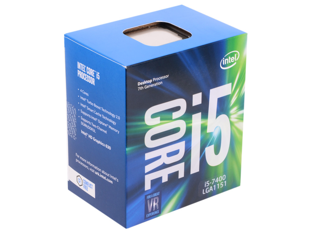 где купить Процессор Intel Core i5-7400 BOX TPD 65W, 4/4, Base 3.0GHz - Turbo 3.5 GHz, 6Mb, LGA1151 (Kaby Lake) дешево
