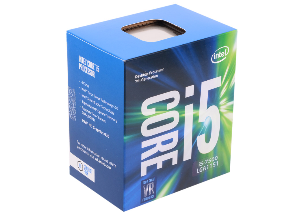 Процессор Intel Core i5-7500 BOX TPD 65W, 4/4, Base 3.4GHz - Turbo 3.8 GHz, 6Mb, LGA1151 (Kaby Lake) процессор intel core i5 6400 2 7ghz 6mb lga1151 box bx80662i56400