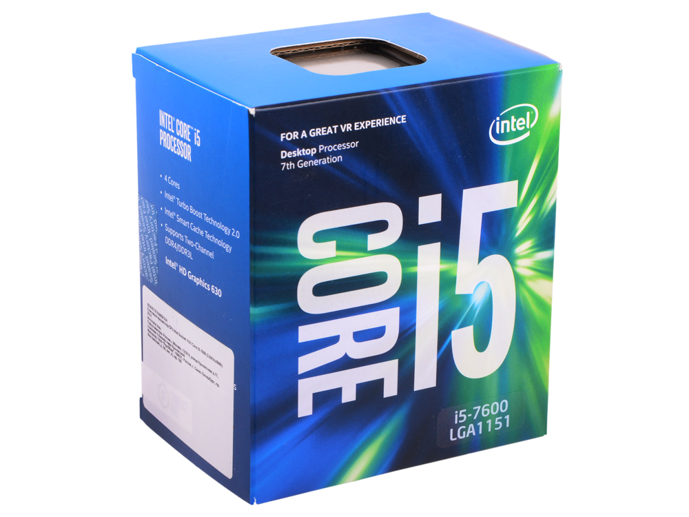 Процессор Intel Core i5-7600 BOX TPD 65W, 4/4, Base 3.50GHz - Turbo 4.10GHz, 6Mb, LGA1151 (Kaby Lake) цена