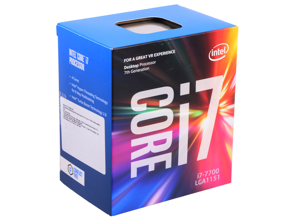Процессор Intel Core i7-7700 BOX TPD 65W, 4/8, Base 3.60GHz - Turbo 4.20GHz, 8Mb, LGA1151 (Kaby Lake) процессор intel core i3 8100 box tpd 65w 4 4 base 3 6ghz 6mb lga1151 coffee lake
