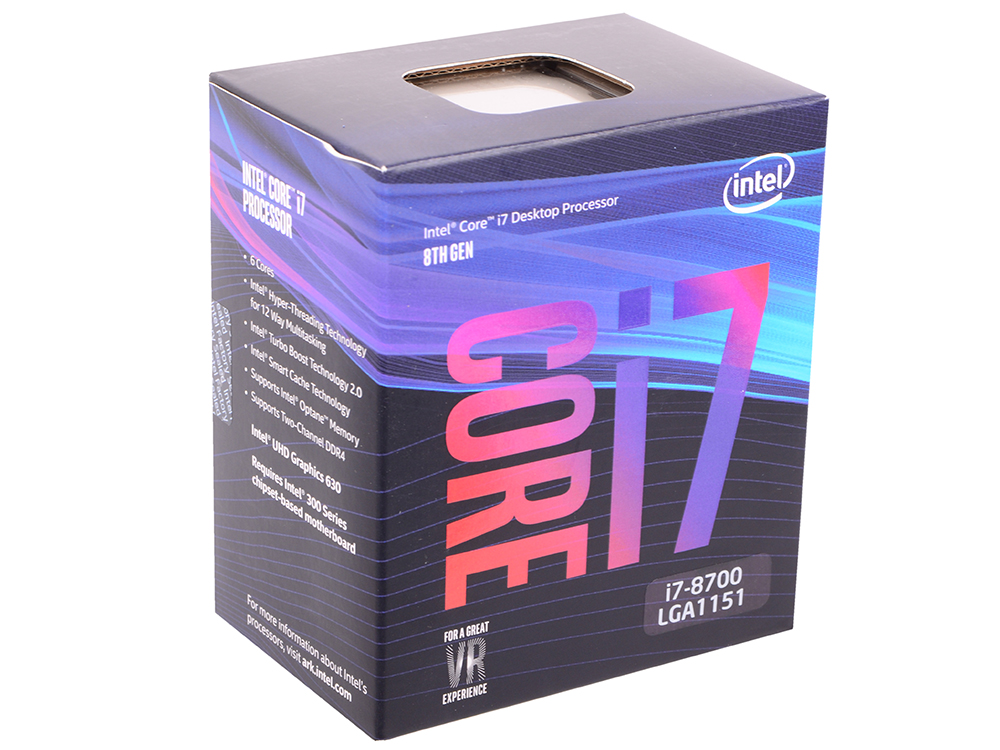 Процессор Intel Core i7-8700 BOX (TPD 65W, 6/12, Base 3.2GHz - Turbo 4.6 GHz, 12Mb, LGA1151 (Coffee Lake)) процессор intel core i7 8700