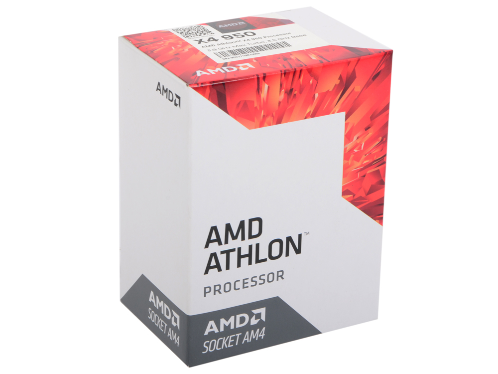 Процессор AMD Athlon X4 950 BOX 65W, 4C/4T, 3.8Gh(Max), 2MB(L2-2MB), AM4 (AD950XAGABBOX) процессор amd a8 7500 3 0ghz 2mb ad7500ybi44ja socket fm2 oem