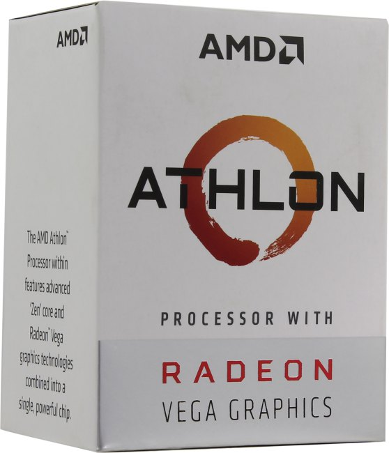 цена Процессор AMD Athlon 200GE BOX Radeon Vega Graphics 35W, 2C/4T, 3.2Gh(Max), 5MB(L2+L3), AM4 (YD200GC6FBBOX)