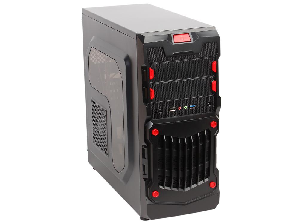 Корпус 3Cott 1818 ATX, без БП, окно, 1x USB3.0 (с доп. коннектором USB 2.0), 1x USB2.0, 2х12см LED новые красные вент-ры, HD аудио,