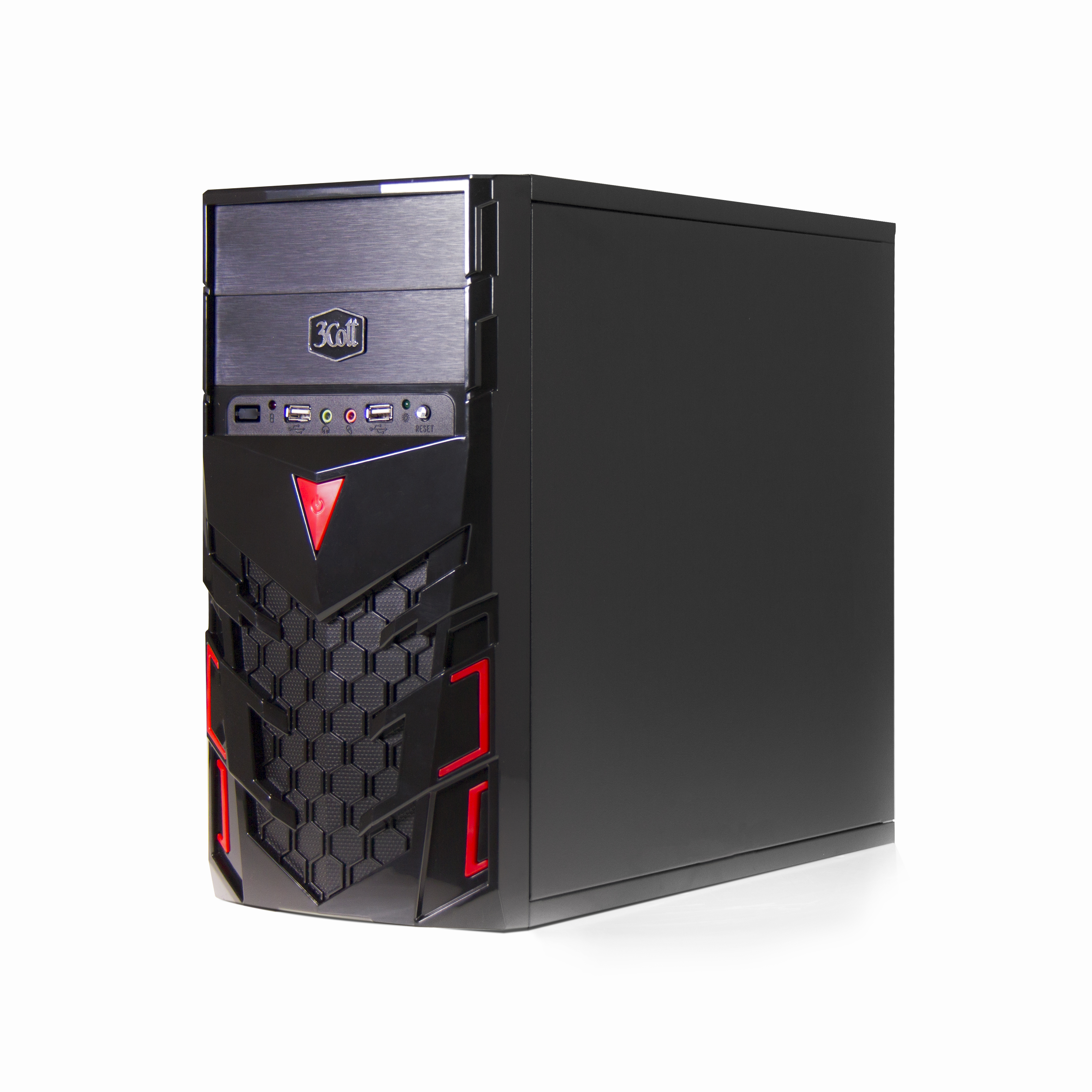 """Корпус 3Cott 3C-MATX-CA1B """"Venom"""" для игрового компьютера, mATX, блок питания 500 Вт, выходы USB 2.0x2, аудиовыход, микрофонный вход"""