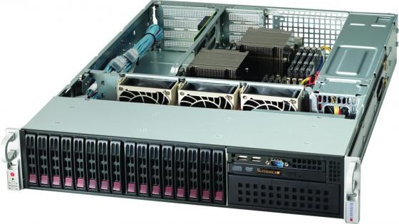 Корпус Supermicro CSE-213A-R740WB, Rackmount 2U, up to 16x2.5 Hot Plug HDD, 16x SAS2 Backplane, 3 FAN, 2x740W, Rack Rails, чёрный 2 1x5 5mm f to 5 0x7 4mm male dc power plug connector adapter for dell hp laptop r179 drop shipping