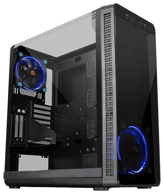 Корпус Thermaltake View 37 CA-1J7-00M1WN-00 /Black/Win/SGCC/Riing Blue 140mm Fan*2 (871342)
