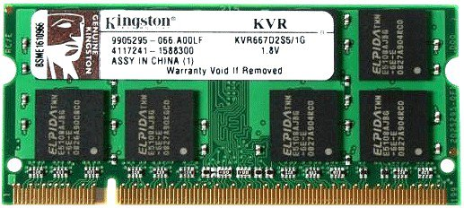 Память SO-DIMM DDRII 1024 Mb (pc-5300) 667MHz Kingston (KVR667D2S5/1G)