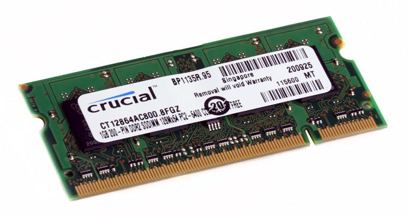 Память SO-DIMM DDRII 1Gb (pc-6400) 800MHz Crucial