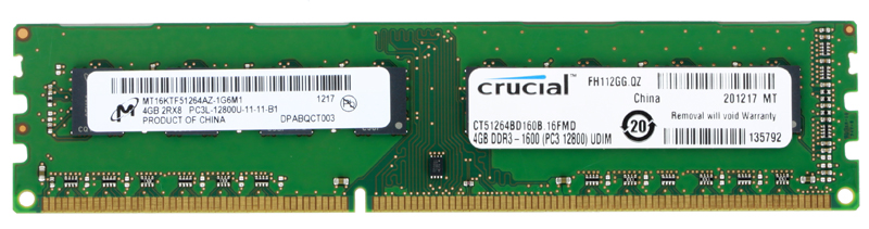 Память DDR3 4Gb (pc-12800) 1600MHz Crucial (CT51264BD160B)