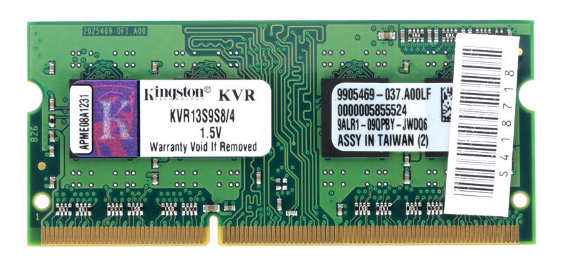 Память SO-DIMM DDR3 4096 Mb (pc-10600) 1333MHz Kingston, CL9 (Retail) (KVR13S9S8/4)
