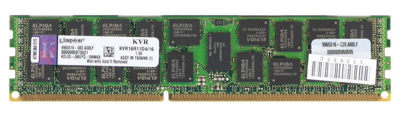 Память DDR3 16Gb (pc-12800) 1600MHz ECC Reg CL11 Kingston (KVR16R11D4/16)
